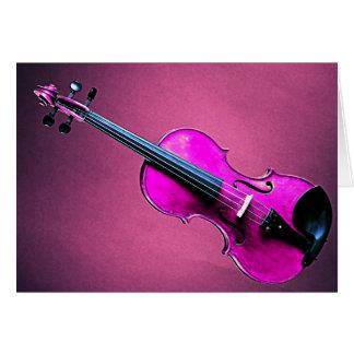 Violín o rosa de la tarjeta del saludo o de nota d