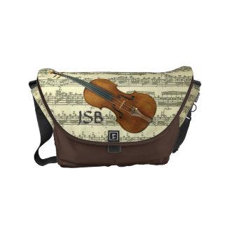 Violin on Bach Music Manuscript Custom Monogram Small Messenger Bag
