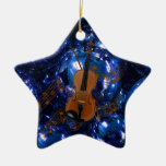 Violin on Christmas Blue Baubles Double-Sided Star Ceramic Christmas Ornament