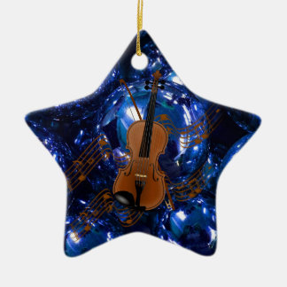 Violin on Christmas Blue Baubles Ornament
