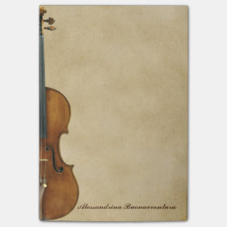 Violin on Parchment Look Customizable Name Post-it® Notes