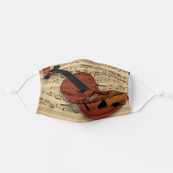 Violin on Vintage Music Cloth Face Mask