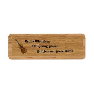 Violin on Woodgrain Background Return Address Labels