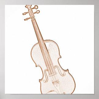 Violin or Viola Brown Ink Drawing Poster