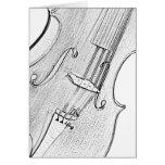 Violin or Viola Ink Drawing Greeting or Note Card