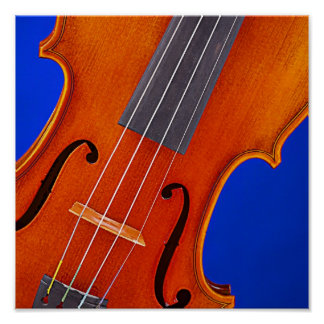 Violin or Viola Poster Blue Background