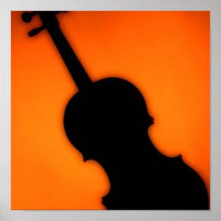 Violin or Viola Poster Gold Background