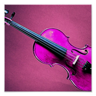 Violin or Viola Poster Pink Background