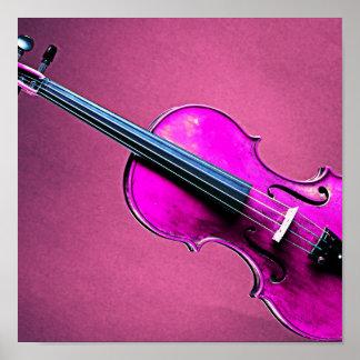 Violin or Viola Poster Pink Background