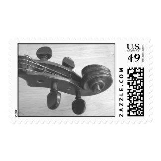 Violin photo postage stamp