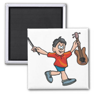Violin Player 2 Inch Square Magnet