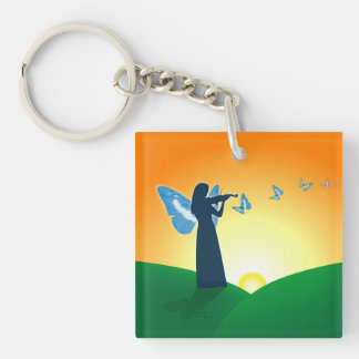 Violin Player & Butterflies Keychain