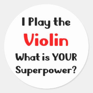 Violin player classic round sticker
