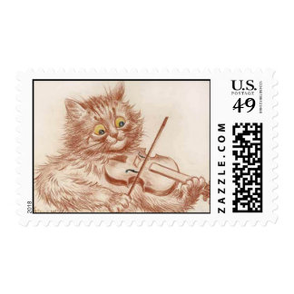 Violin Playing Cat postage
