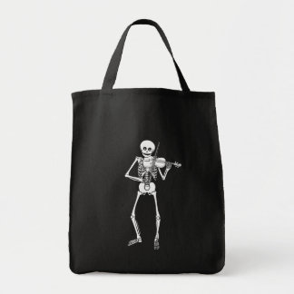 Violin Playing Skeleton Grocery Tote Bag