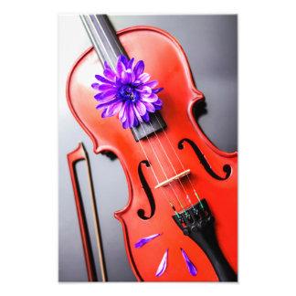 Violín poético artístico con la foto violeta de la fotografías
