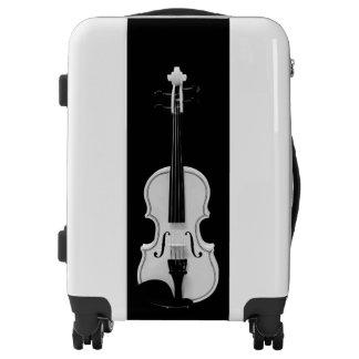 Violin Portrait - Black and White Photograph Luggage