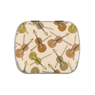 Violin Print Pattern Jelly Belly Candy Tins