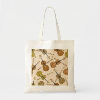 Violin Print Pattern Tote Bag