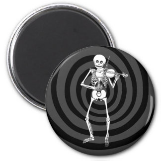 Violín que juega el esqueleto imán redondo 5 cm