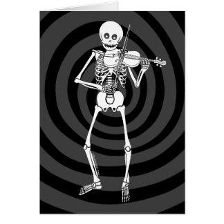 Violín que juega el esqueleto tarjeta de felicitación