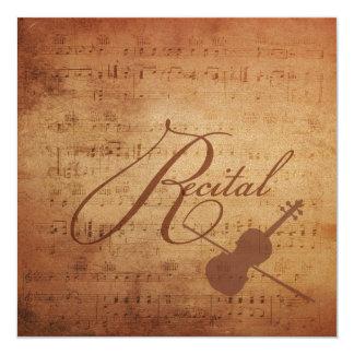 Violin Recital Antique Sheet Music Card