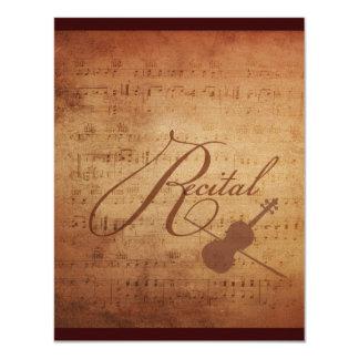 "Violin Recital Antique Sheet Music Personalized 4.25"" X 5.5"" Invitation Card"