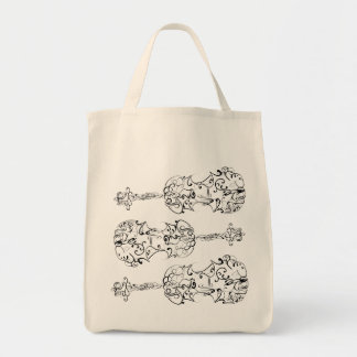 Violin Scrawl Grocery Tote Bag