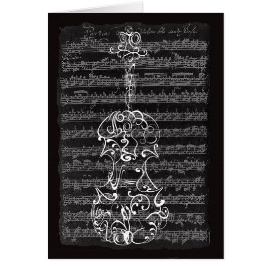 Violin Scrawl on Bach Manuscript Card