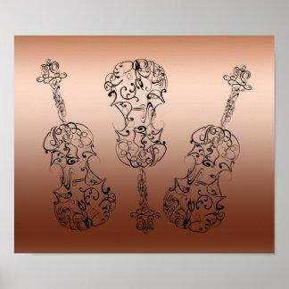 Violin Scrawl Trio Print
