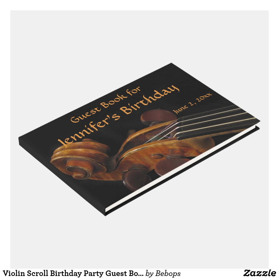 Violin Scroll Birthday Party Guest Book