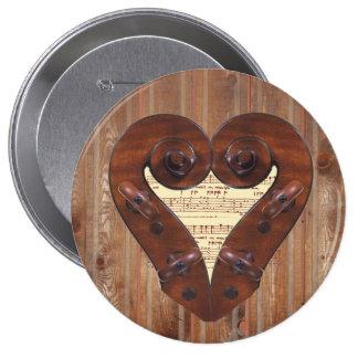 Violin Scroll Heart Pinback Button