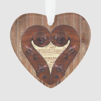 Violin Scroll Heart Ornament