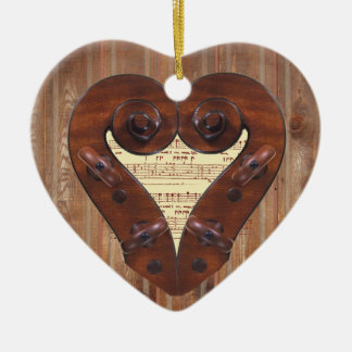 Violin Scroll Heart Pendant Ornament