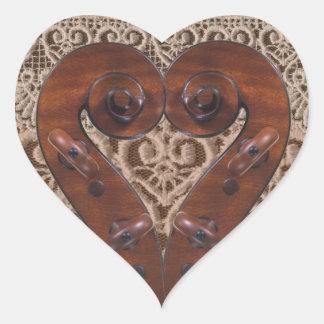 Violin Scroll Heart Sticker