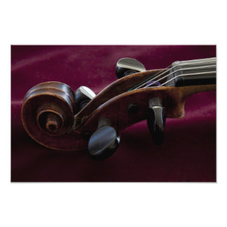 Violin Scroll on Burgandy Photo Print