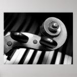 Violin Scroll over Piano Keys Poster