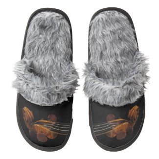 Violin Scroll Pair of Fuzzy Slippers
