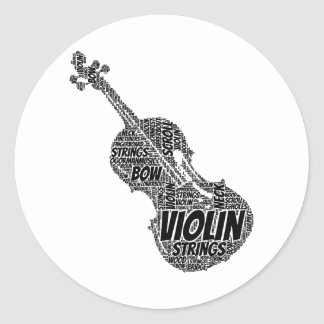 Violin Shaped Word Art Black Text Classic Round Sticker