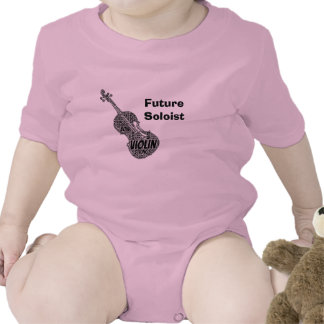Violin Shaped Word Art Black Text Baby Bodysuits