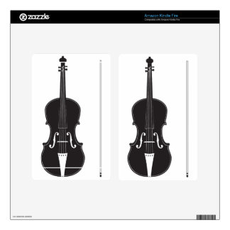 Violin Silhouette 2 Decals For Kindle Fire