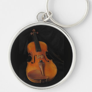 Violin Silver-Colored Round Keychain