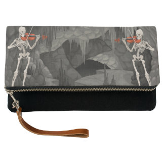 Violin skeleton fold over clutch purse bag