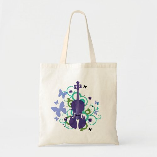 Violin Sky Butterfly Budget Tote Bag
