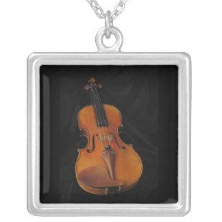 Violin Square Pendant Necklace