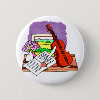 Violin Still Life with music graphic design Button