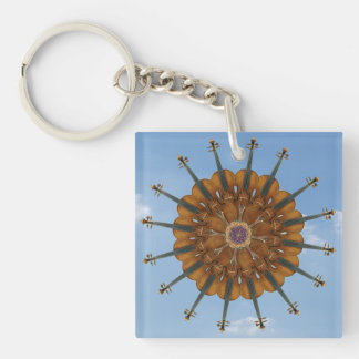 Violin Sunflower in Blue Sky Keychain