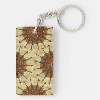 Violin Sunflower on Golden Stripes Keychain