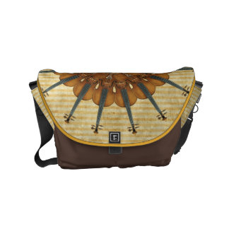Violin Sunflower on Golden Stripes Small Messenger Bag