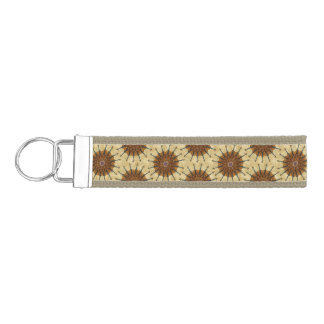 Violin Sunflower on Golden Stripes Wrist Keychain